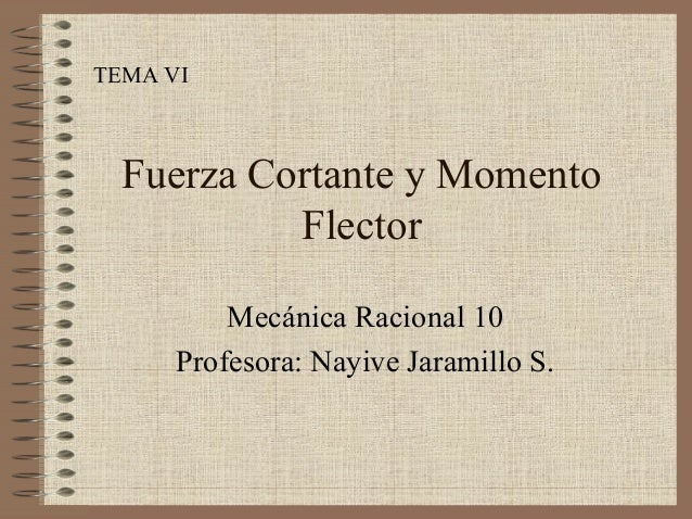 TEMA VI Fuerza Cortante y Momento Flector Mecánica Racional 10 Profesora: Nayive Jaramillo S.