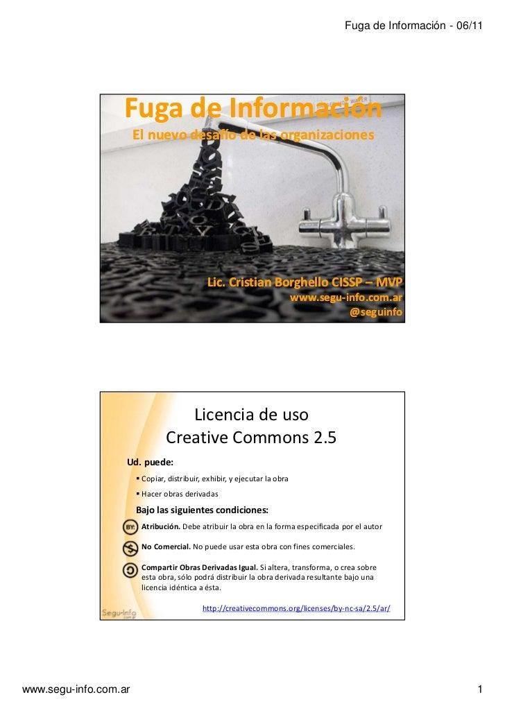 Fuga de Información - 06/11                  Fuga de Información                       El nuevo desafío de las organizacio...