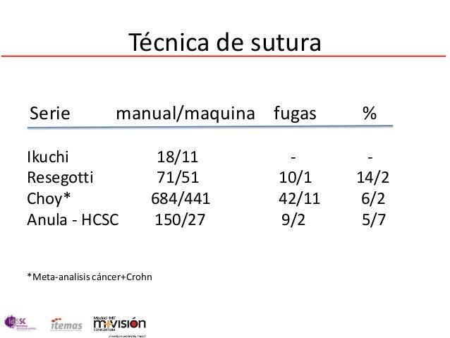 Técnica de suturaSerie              manual/maquina fugas     %Ikuchi                     18/11     -        -Resegotti    ...