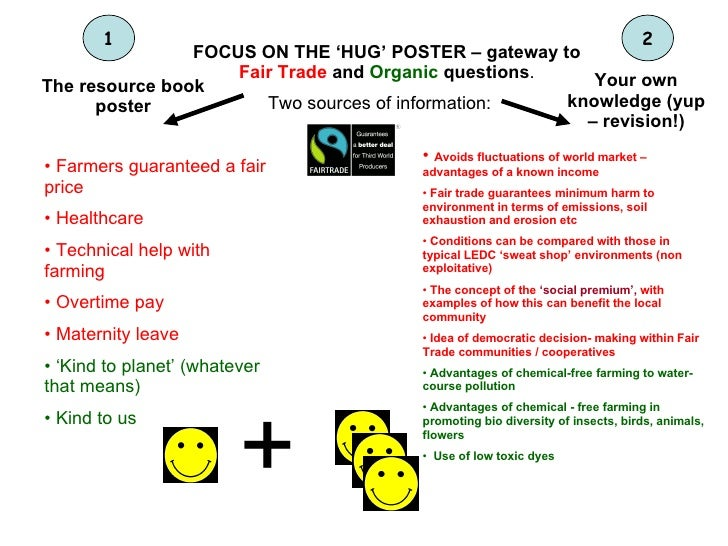 FOCUS ON THE 'HUG' POSTER – gateway to  Fair Trade  and  Organic  questions . Two sources of information: The resource boo...