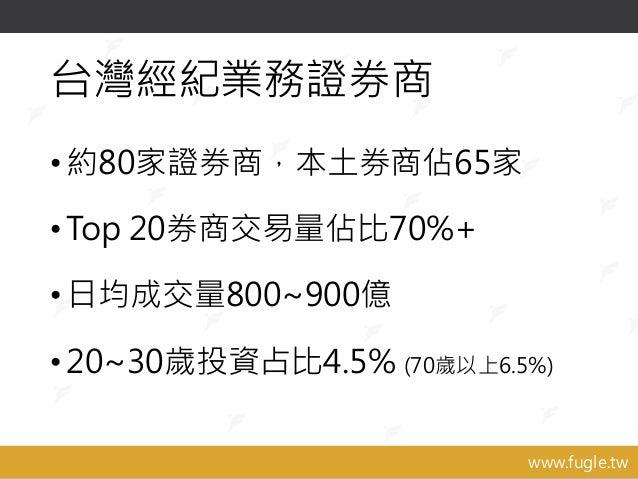 www.fugle.tw 台灣經紀業務證券商 •約80家證券商,本土券商佔65家 •Top 20券商交易量佔比70%+ •日均成交量800~900億 •20~30歲投資占比4.5% (70歲以上6.5%)