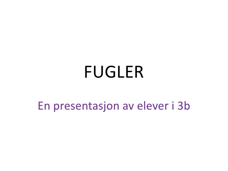 FUGLER<br />En presentasjon av elever i 3b<br />
