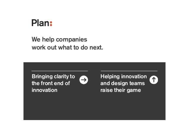 Bringing clarity to the front end of innovation Helping innovation and design teams raise their game Consumer electronics ...