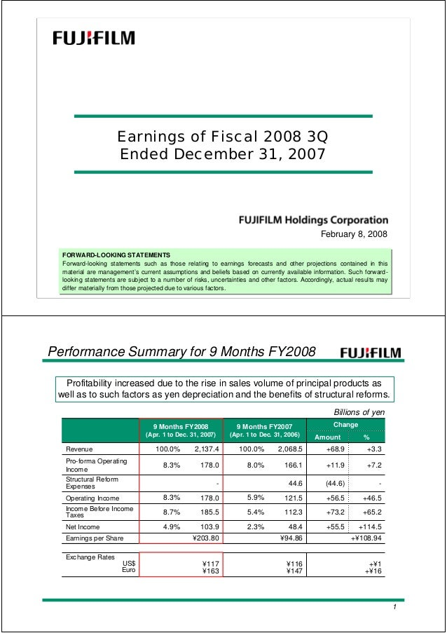 FORWARD-LOOKING STATEMENTS Forward-looking statements such as those relating to earnings forecasts and other projections c...