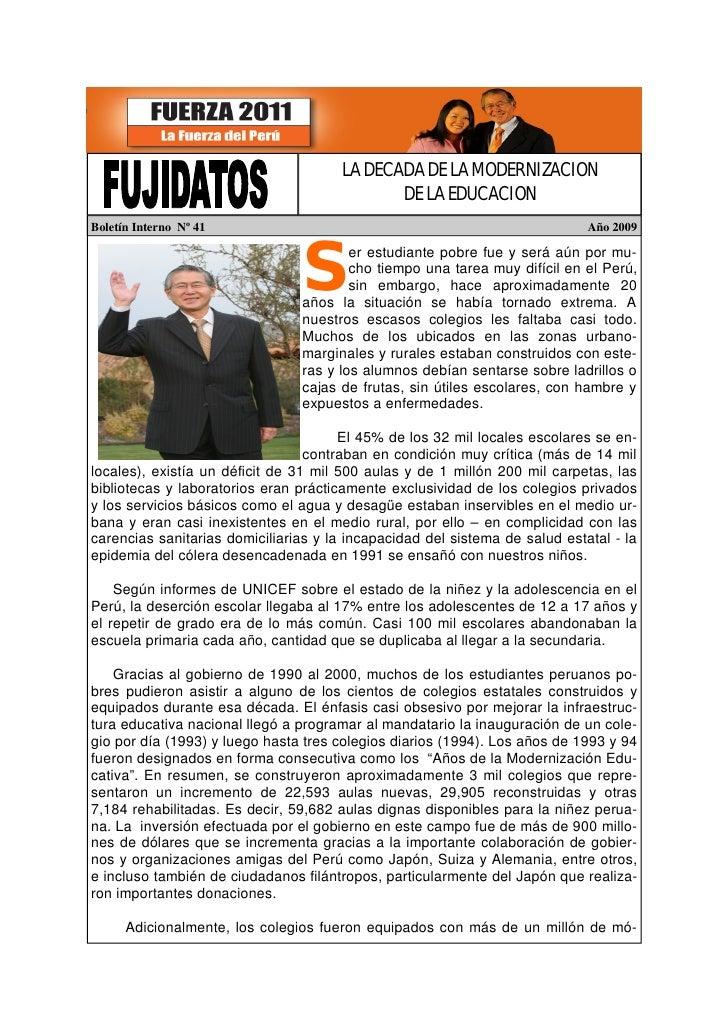 LA DECADA DE LA MODERNIZACION                                               DE LA EDUCACION Boletín Interno Nº 41         ...