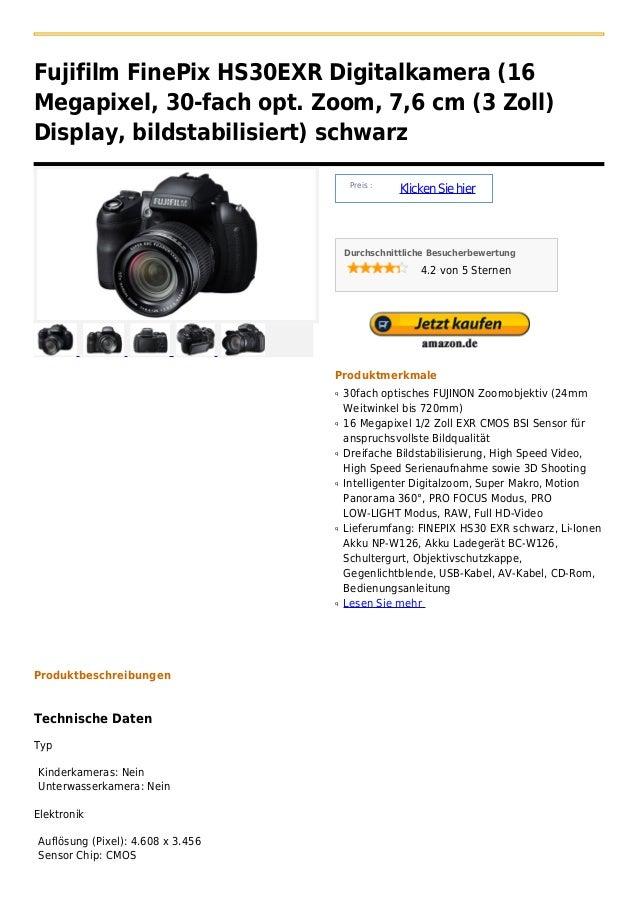 Fujifilm FinePix HS30EXR Digitalkamera (16Megapixel, 30-fach opt. Zoom, 7,6 cm (3 Zoll)Display, bildstabilisiert) schwarz ...