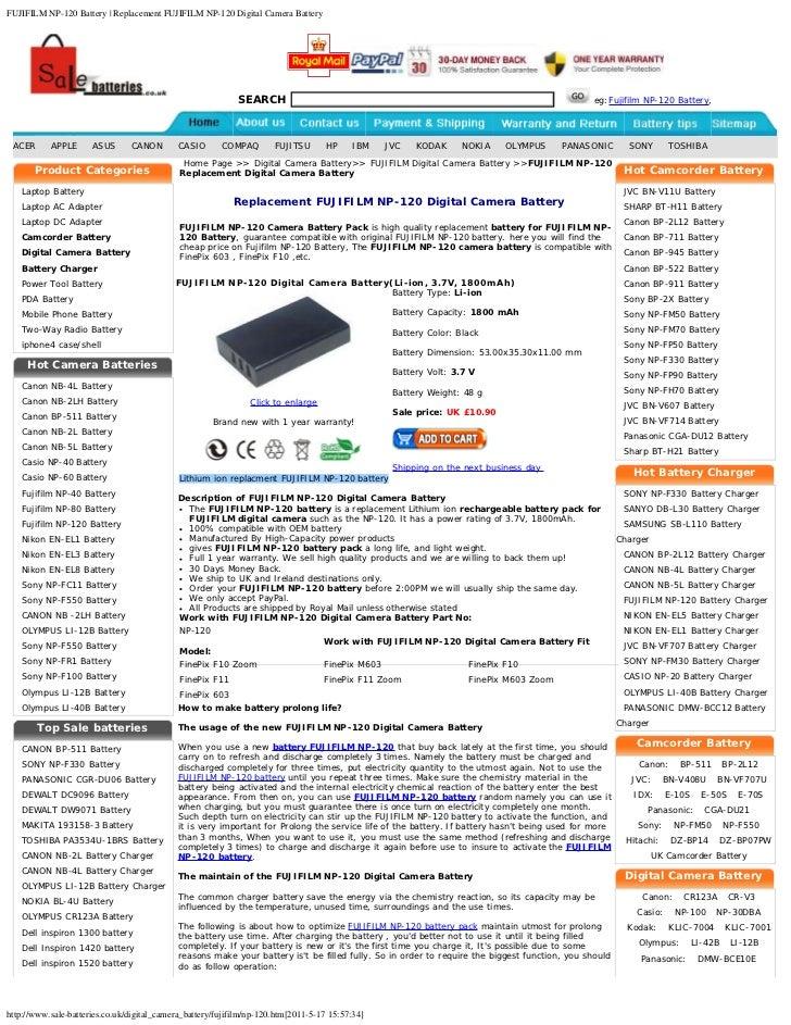 FUJIFILM NP-120 Battery | Replacement FUJIFILM NP-120 Digital Camera Battery                                              ...