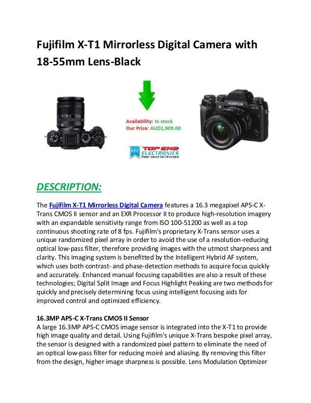Fujifilm X-T1 Mirrorless Digital Camera with 18-55mm Lens-Black DESCRIPTION: The Fujifilm X-T1 Mirrorless Digital Camera f...