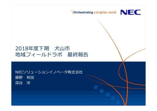 2018年度下期 犬山市 地域フィールドラボ 最終報告 NECソリューションイノベータ株式会社 藤野 有加 深谷 洋