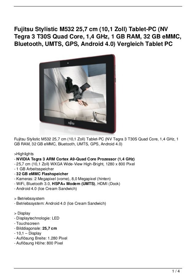 Fujitsu Stylistic M532 25,7 cm (10,1 Zoll) Tablet-PC (NVTegra 3 T30S Quad Core, 1,4 GHz, 1 GB RAM, 32 GB eMMC,Bluetooth, U...