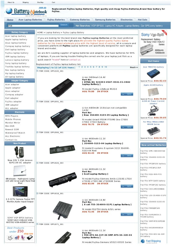 About Us          Shipping    Site Map       Cart                                               Replacement Fujitsu laptop...