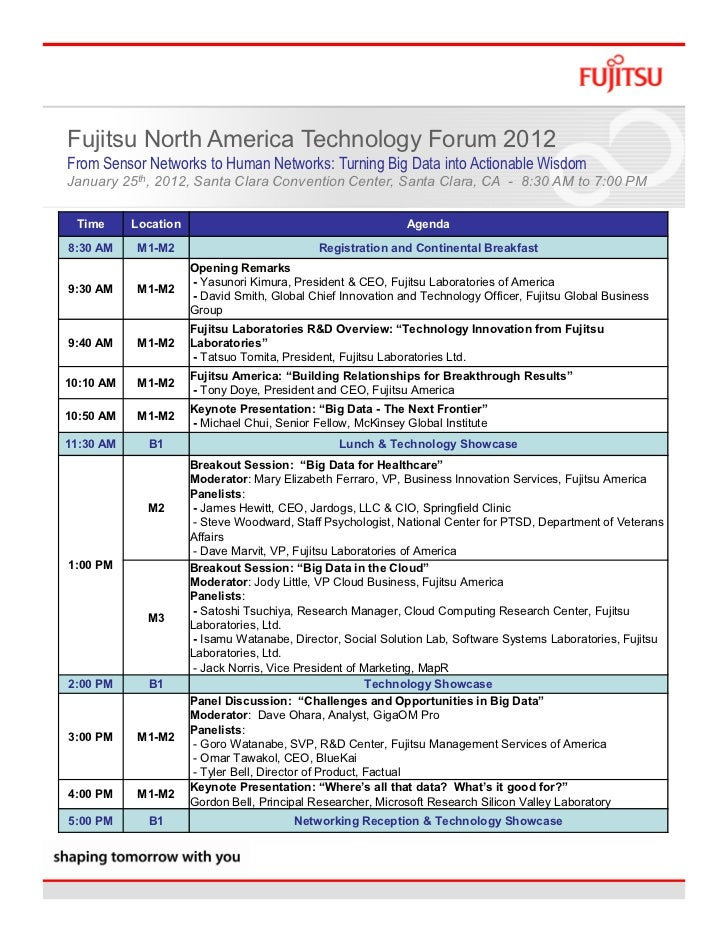 Fujitsu North America Technology Forum 2012From Sensor Networks to Human Networks: Turning Big Data into Actionable Wisdom...
