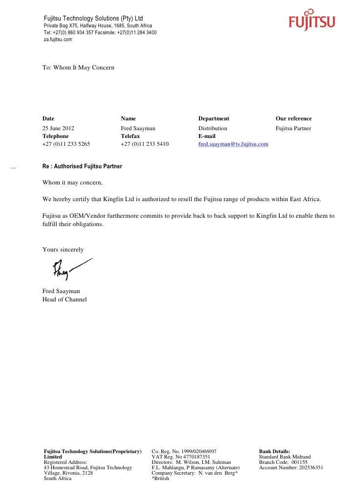fujitsu partner letter