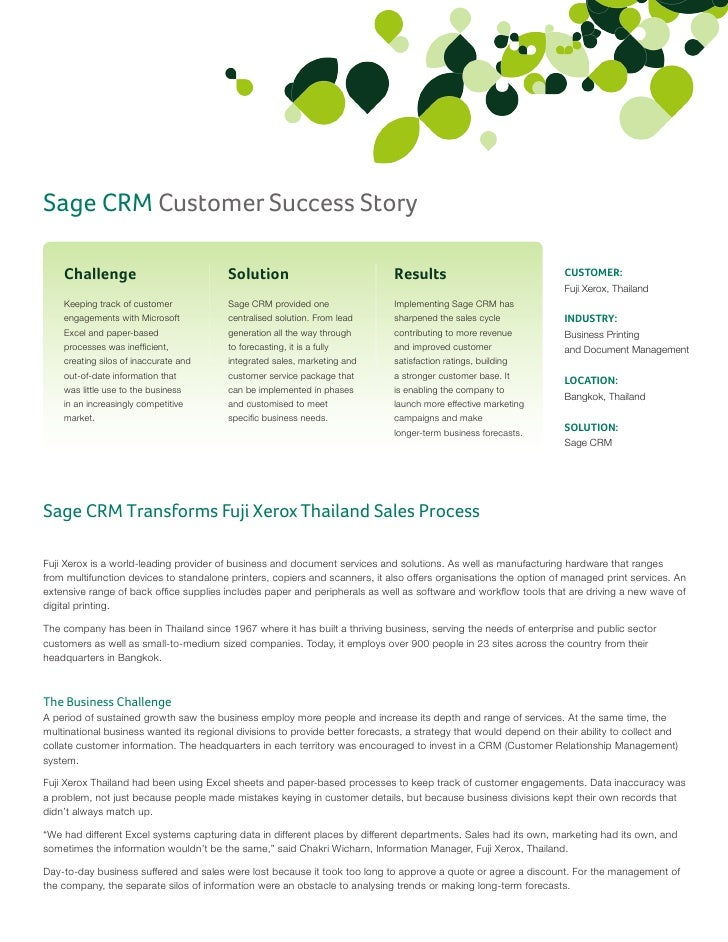 Sage CRM Customer Success Story    Challenge                            Solution                             Results      ...