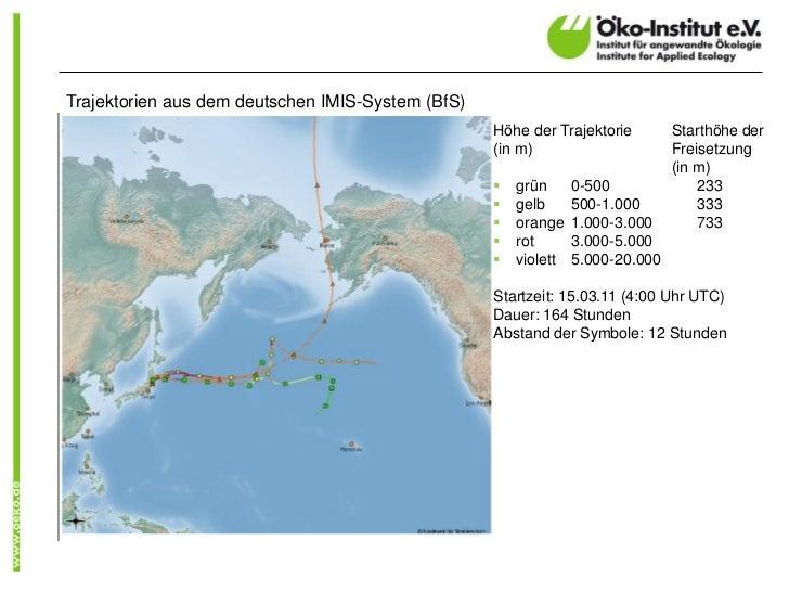 Flächenkontamination    Cs-137/134 (in Bq/m²)   rot:          3 Mio – 30 Mio.   gelb:         1 Mio. – 3 Mio.   grün:  ...