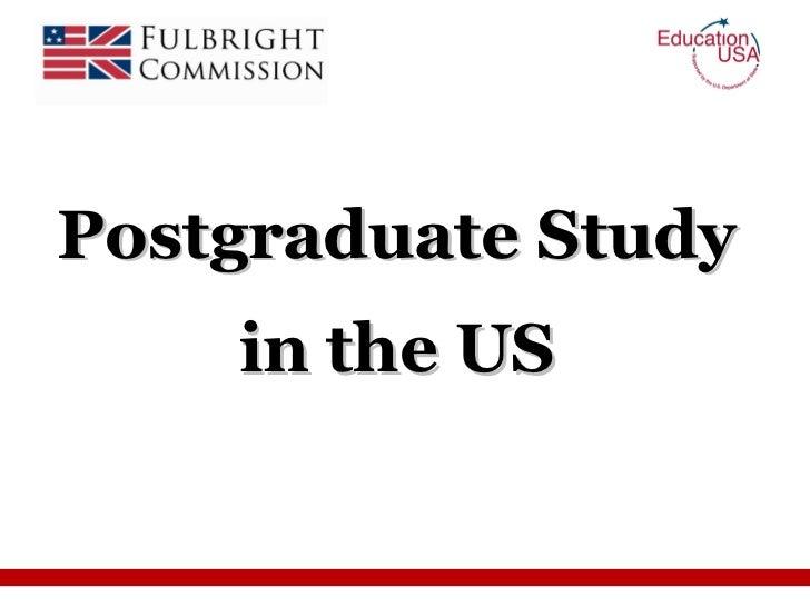 Postgraduate Study in the US