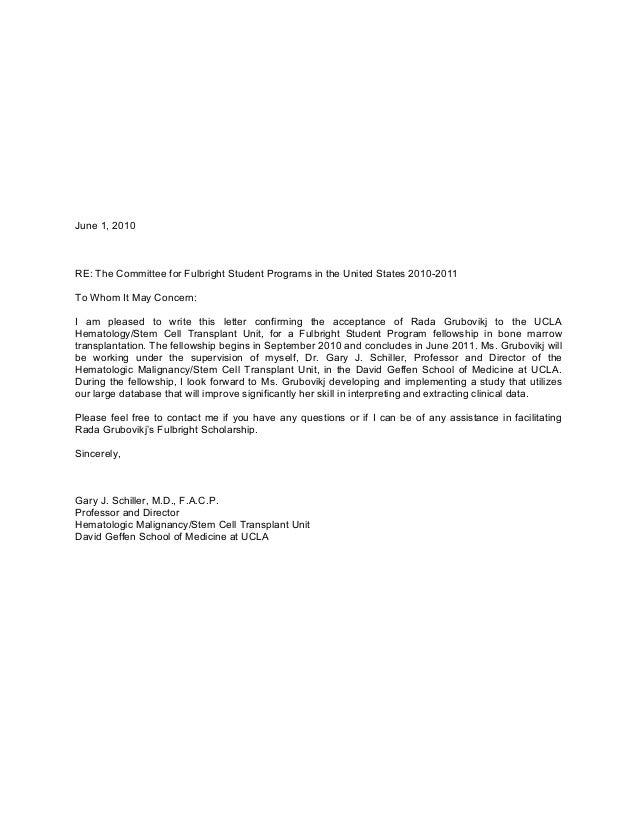 Fulbright Acceptance Letter