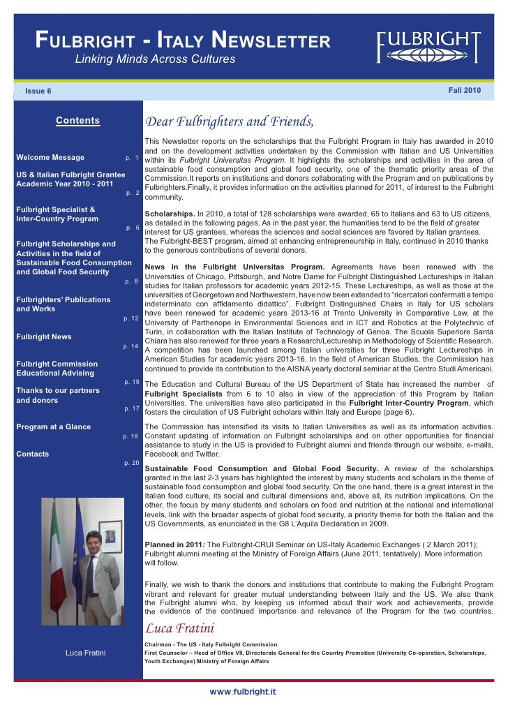 Fulbright - italy Newsletter                 Linking Minds Across Cultures  Issue 6                                       ...