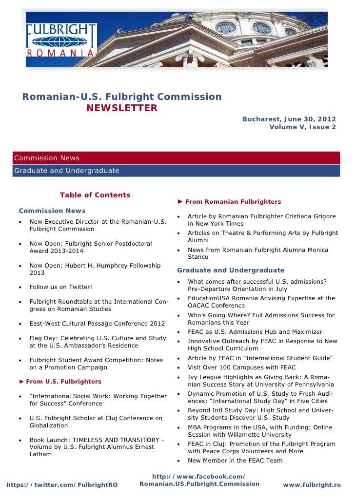 Romanian-U.S. Fulbright Commission              NEWSLETTER                                                                ...