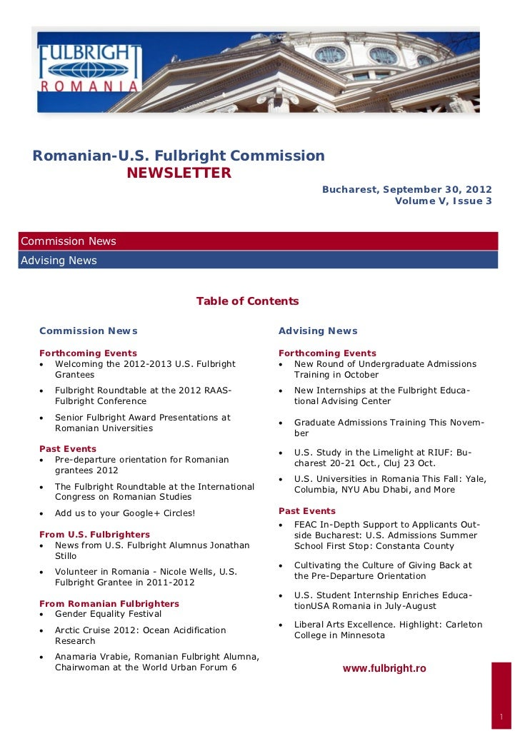 Romanian-U.S. Fulbright Commission           NEWSLETTER                                                                   ...