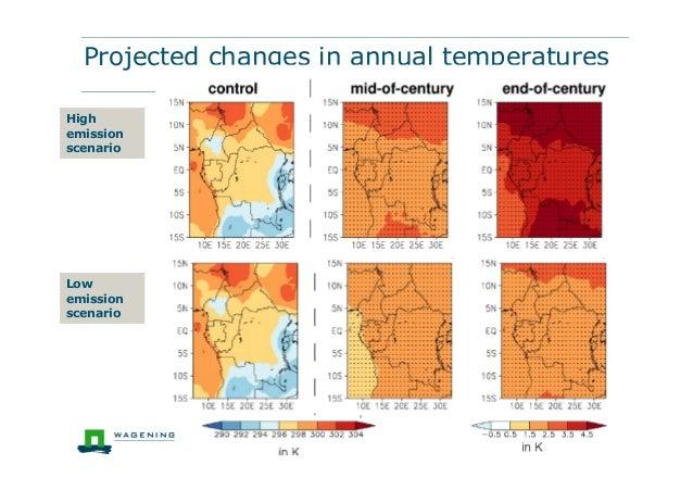 Projected changes in annual temperaturesHighemissionscenarioLowemissionscenario
