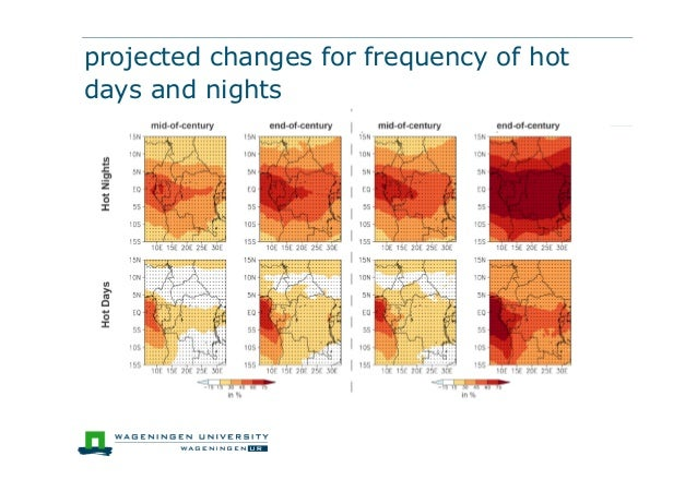projected changes for frequency of hotdays and nights