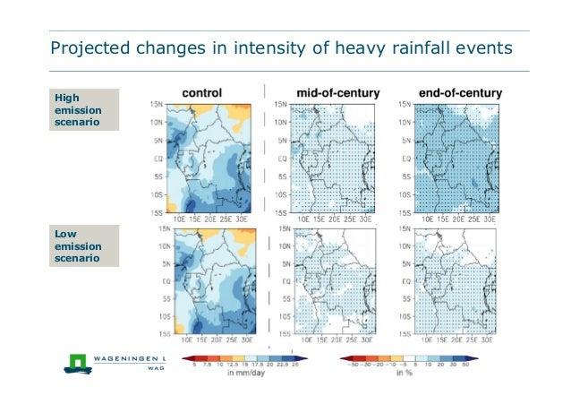 Projected changes in intensity of heavy rainfall eventsHighemissionscenarioLowemissionscenario