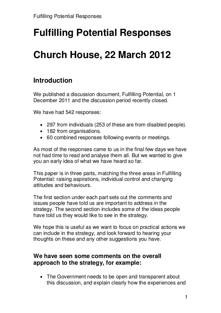 Fulfilling Potential ResponsesFulfilling Potential ResponsesChurch House, 22 March 2012IntroductionWe published a discussi...