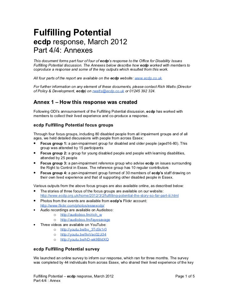 Fulfilling Potentialecdp response, March 2012Part 4/4: AnnexesThis document forms part four of four of ecdp's response to ...