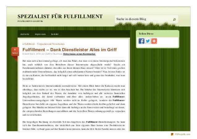 Teilen DieseSPEZIALIST FÜR FULFILLMENTFULFILLMENT-LOGISTIKSuche in diesem Blogstartseite impressum kontakt« Fulfillment – ...