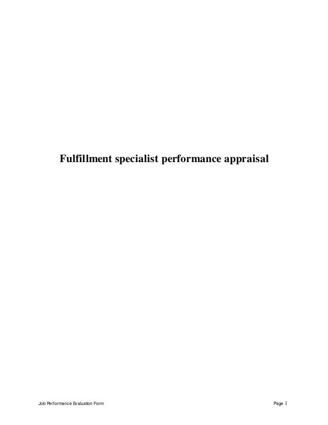 Job Performance Evaluation Form Page 1 Fulfillment specialist performance appraisal
