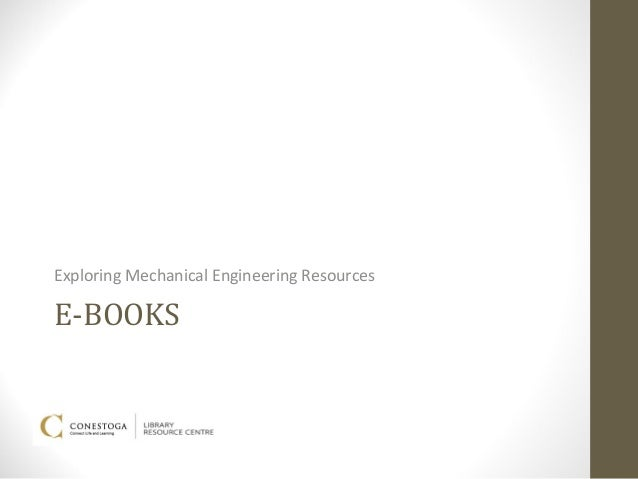 Exploring Mechanical Engineering ResourcesE-BOOKS