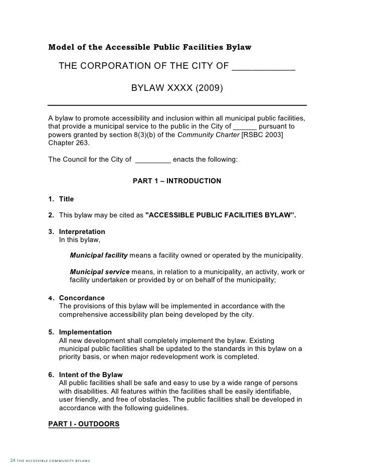 Full Accessible Community Bylaws Guide – Bylaw Template