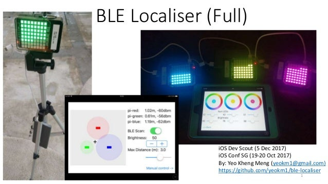 BLE Localiser (Full) iOS Dev Scout (5 Dec 2017) iOS Conf SG (19-20 Oct 2017) By: Yeo Kheng Meng (yeokm1@gmail.com) https:/...