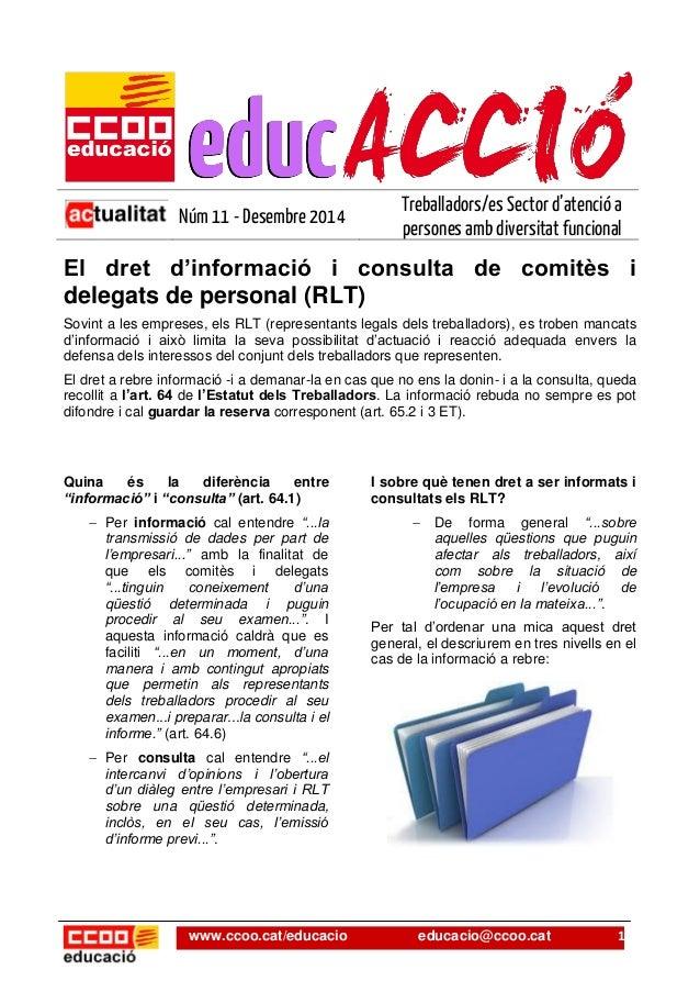 www.ccoo.cat/educacio educacio@ccoo.cat 1  Núm 11 - Desembre 2014  Treballadors/es Sector d'atenció a persones amb diversi...
