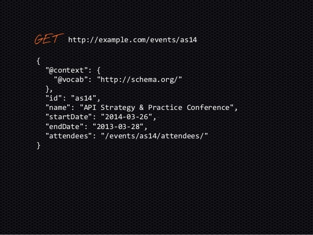 """{ """"@context"""": { """"@vocab"""": """"http://schema.org/"""" }, """"@id"""": """"as14"""", """"name"""": """"API Strategy & Practice Conference"""", """"startDate""""..."""
