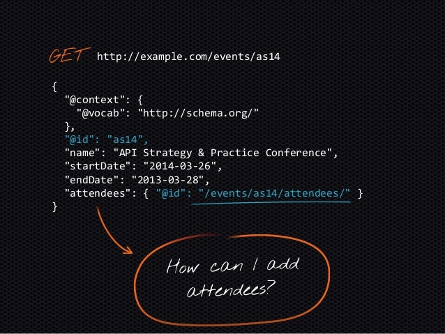 """{ """"@context"""": [ { """"@vocab"""": """"http://schema.org/"""" }, """"http://www.w3.org/ns/hydra/core"""" ], """"@id"""": """"/events/as14/attendees/"""" }"""
