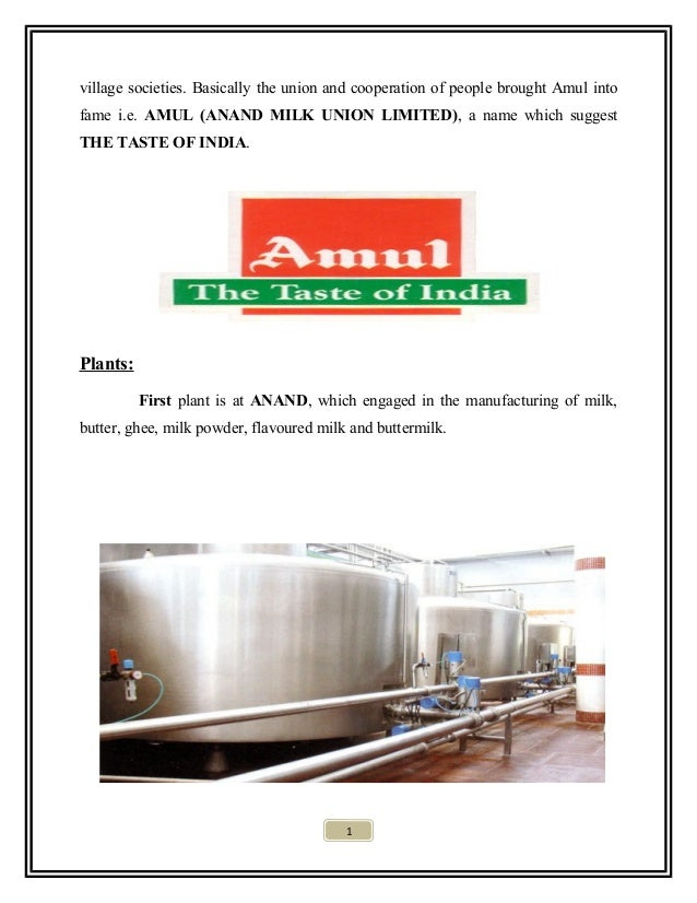 project report on amul Declaration the following summer internship project report titled ³sales of  amul ice creams in catering industry´ at gujarat co-operative milk marketing.