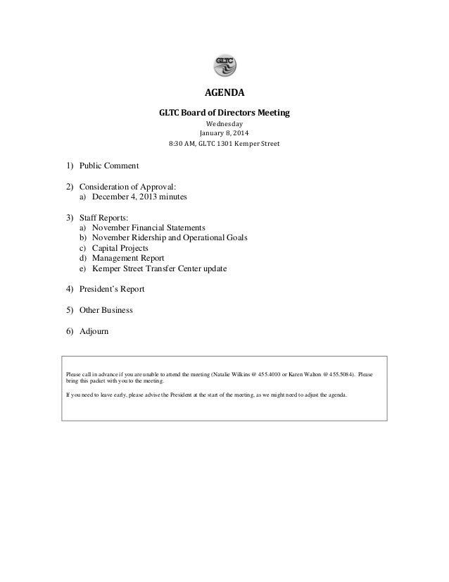 AGENDA Wednesday January 8, 2014 8:30 AM, GLTC 1301 Kemper Street  GLTC Board of Directors Meeting  1) Public Comment  2) ...