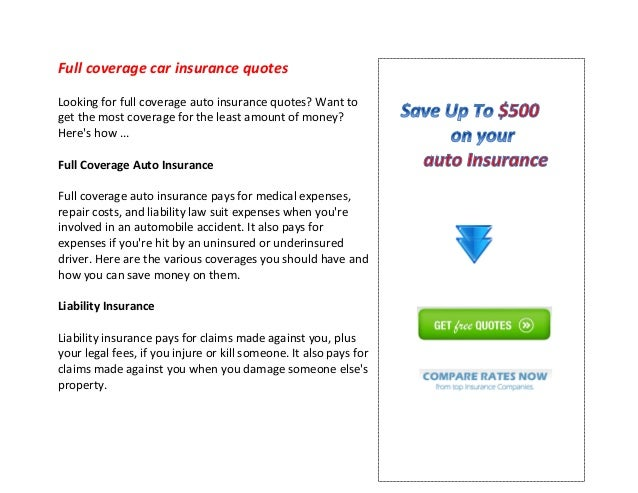 Full Coverage Auto Insurance >> Full Coverage Car Insurance Quotes