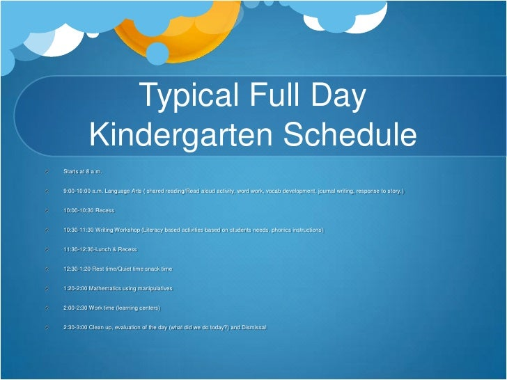 full day kindergarten thesis However, the word kindergarten is used for more specialist organisations such as forest kindergartens and is sometimes used in the naming of private nurseries that provide full-day child care for working parents.