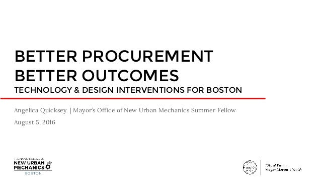 BETTER PROCUREMENT BETTER OUTCOMES TECHNOLOGY & DESIGN INTERVENTIONS FOR BOSTON Angelica Quicksey | Mayor's Office of New ...