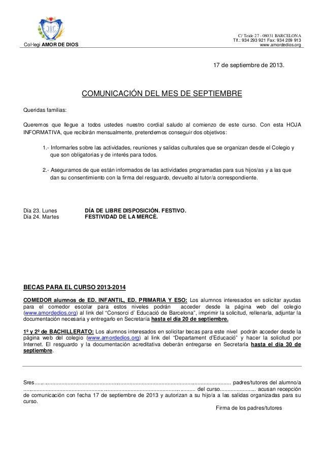 Col·legi AMOR DE DIOS C/ Teide 27 - 08031 BARCELONA Tlf.: 934 293 921 Fax: 934 209 913 www.amordedios.org 17 de septiembre...