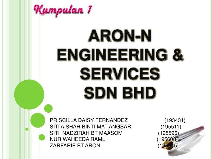 ARON-N  ENGINEERING &    SERVICES    SDN BHDPRISCILLA DAISY FERNANDEZ          (193431)SITI AISHAH BINTI MAT ANGSAR     (1...