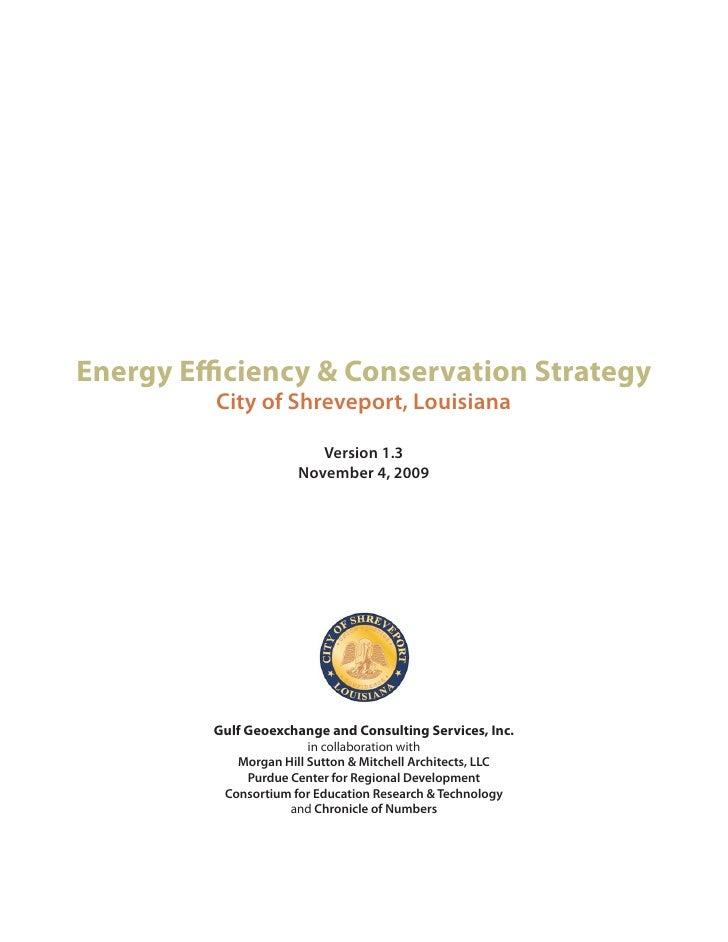 Energy Efficiency & Conservation Strategy          City of Shreveport, Louisiana                           Version 1.3    ...
