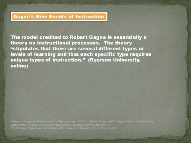 Gagne's Nine Events of Instruction The model credited to Robert Gagne is essentially a theory on instructional processes. ...