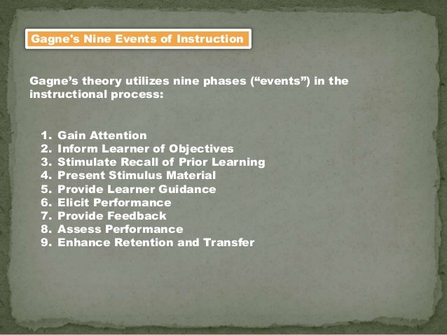 """Gagne's Nine Events of Instruction Gagne's theory utilizes nine phases (""""events"""") in the instructional process: 1. Gain At..."""