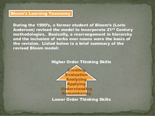 Bloom's Learning Taxonomy During the 1990's, a former student of Bloom's (Lorin Anderson) revised the model to incorporate...