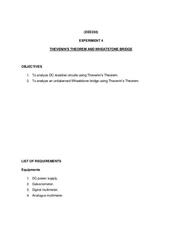 wheatstone bridge experiment lab report