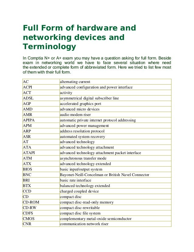 Full form of hardware and networking devices and terminology